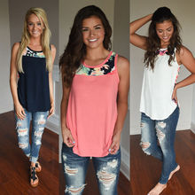 Women's Sexy Summer Sleeveless T Shirt Casual Patchwork Floral Top Casual Tops O Neck T-Shirts Tee 4 Colors Tee