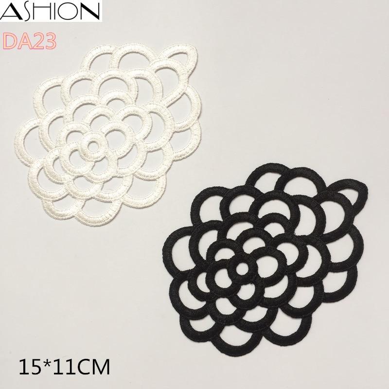 Aplikacija čipke iz belega in črnega poliestra LP-DA23, obliži za oblačila, ovratni cvet, dodatki za poročno obleko