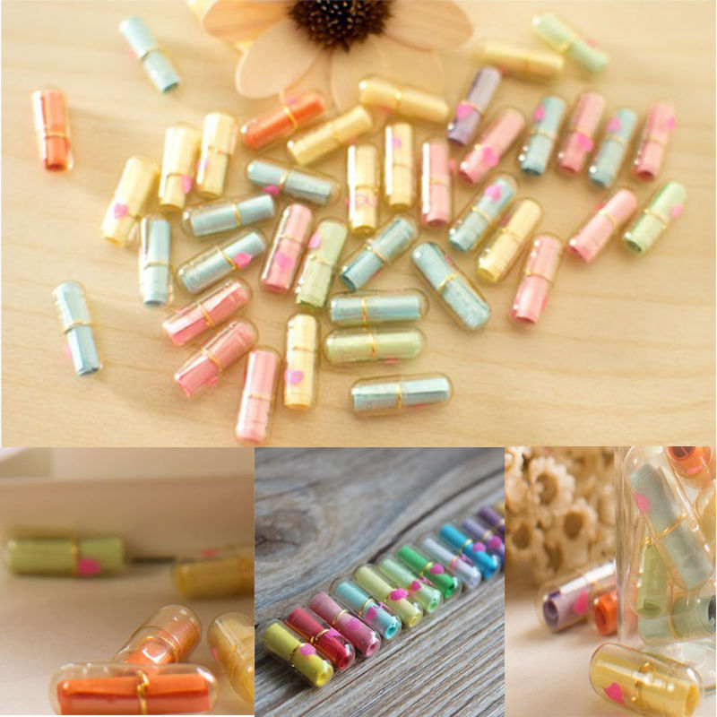 50Pcs Expression Message Letter Capsule Unconventional Multiple Color Heart Shape Mini Event Party Surprised Gift Accessories