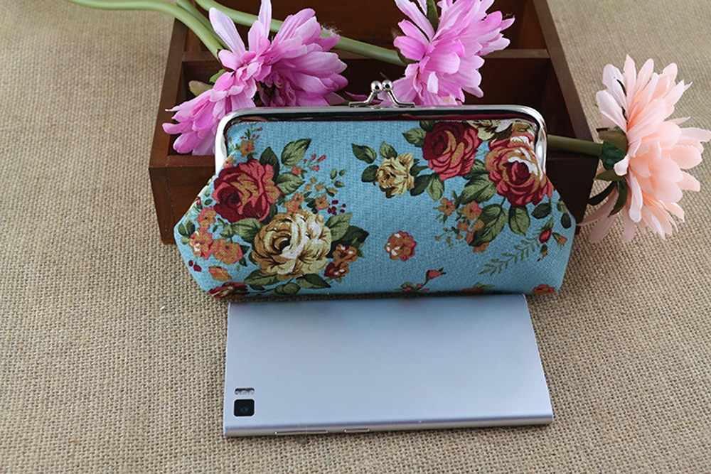 Nova chegada bolsa de moedas de Mulheres Lady Retro Vintage Flor Pequena Bolsa Carteira Ferrolho dinheiro titular do cartão de telefone bolsas Carteira Feminina