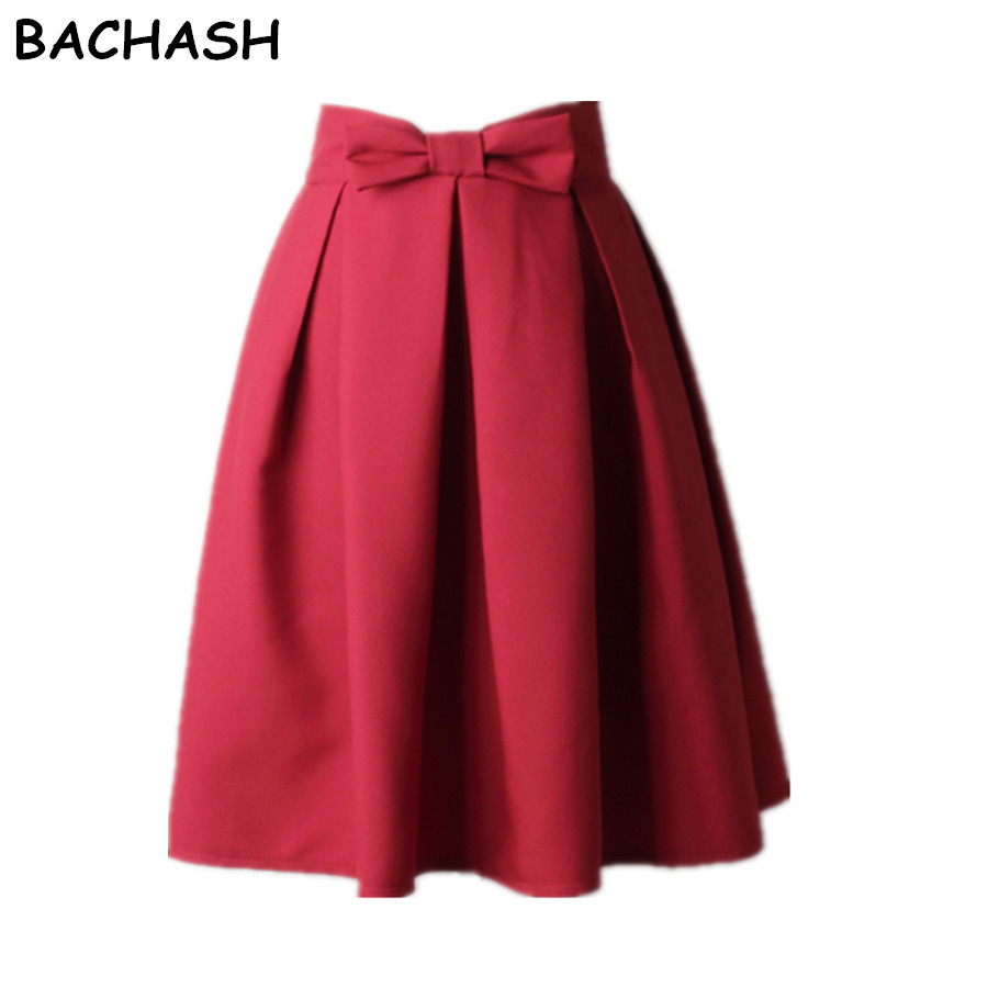 BACHASH Elegant Wanita Rok Tinggi Pinggang Lipit Knee Length Rok Vintage A Line Big Bow Red Black Side Zipper Skater Rok Merah