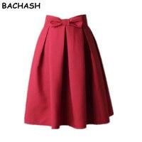 BACHASH Elegante Falda de Cintura Alta Plisada Falda hasta La Rodilla de La Vendimia una Línea de Gran Arco Rojo Negro Side Zipper Faldas Patinador Rojo