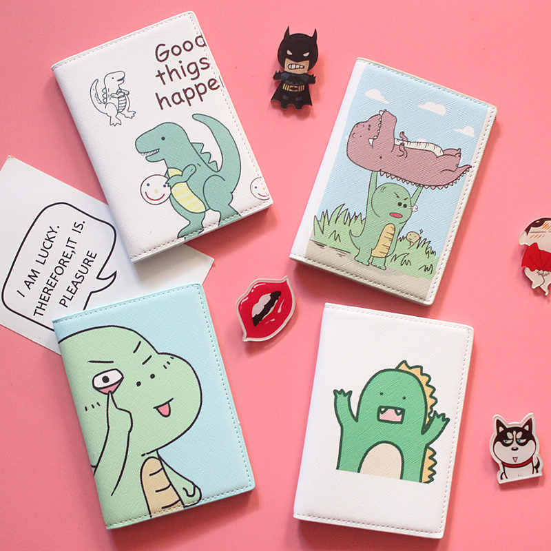 Cartoon  Dinosaur Style Passport Holder for Travel Cactus ID Card Holder Travel Accessories  Passport Cover  Credit Card Holder