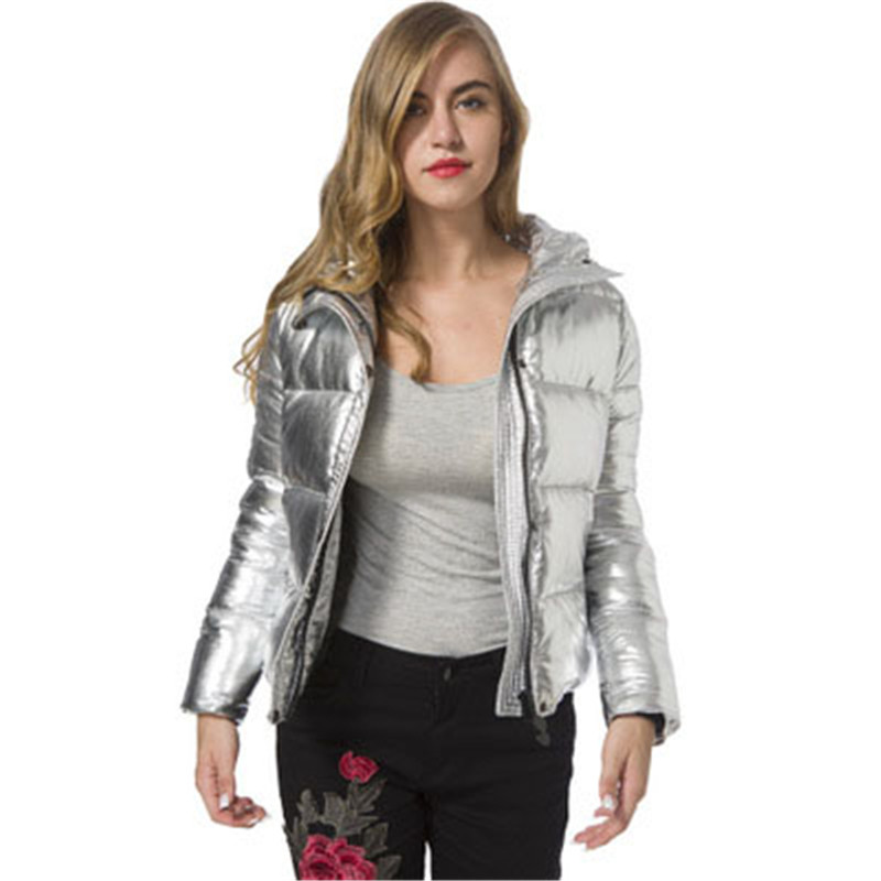 Couleur Automne Grande Hiver Femmes Le Capuchon De Vers Tendance Argent Dames Bas Métal Taille White À Nouvelle Spot 2018 Silver Coton Sauvage Mode Manteau vdY5wvq