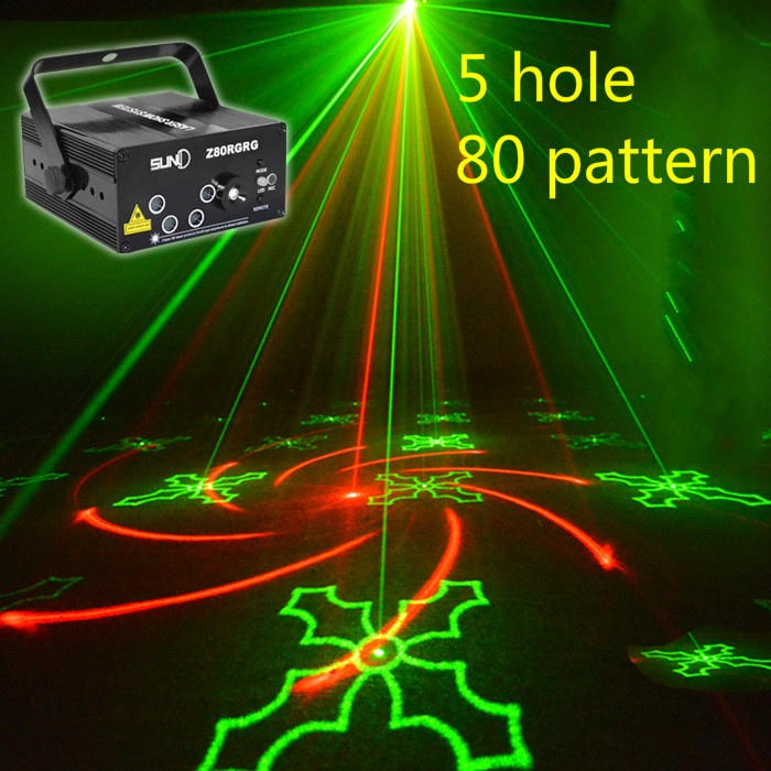 купить 2018 NEW 5 holes 80 patterns RG Laser BLUE LED Stage Lighting DJ Show Light Green Red Home Professional Light free shiping по цене 5880.42 рублей