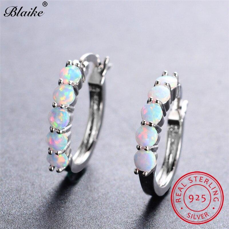 Blaike 925 Sterling Silver Round Hoop Earrings For Women Blue White Fire  Opal Earrings Rainbow Stone Circle Piercing Ear Jewelry-in Earrings from  Jewelry ... 30c4a235fc3d