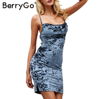 BerryGo Velvet Strap Backless Mini Dress Women Sexy Lace Up Skinny Bodycon Dress Female Slim Winter