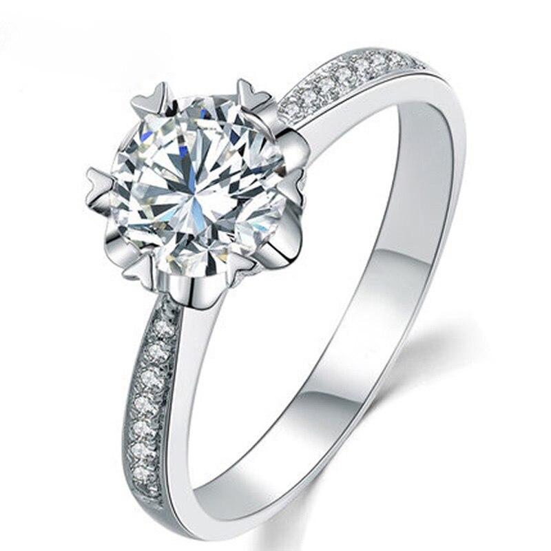 ANI 18 K or blanc (AU750) femmes bague de mariage 0.3 CT certifié I/SI taille ronde diamant coeur forme broche romantique Valentines anneau