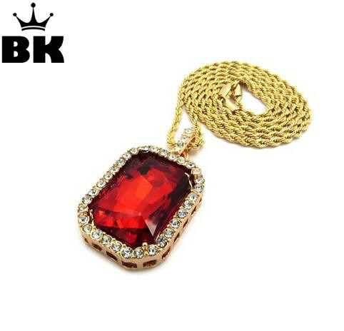 Mens Emas Warna Iced Out Red Kristal Pendant Kalung Iced Out Square - Perhiasan fashion