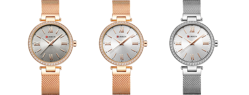CURREN 9011 Mesh Stainless Steel Analog Watch For Women 7