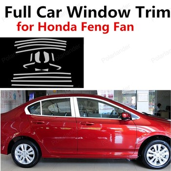 Car Extrior Accessories Stainless Steel Full Window Frame Trim Cover With Center Pillar For H-onda Feng Fan