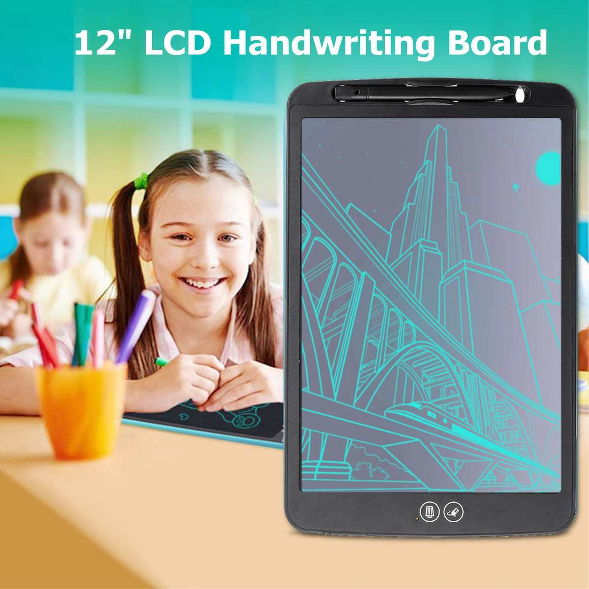 Partially Erasing Children's Writing Thick Pen Highlighting Electronic DIgital Tablets 12 inch LCD Handwriting Board