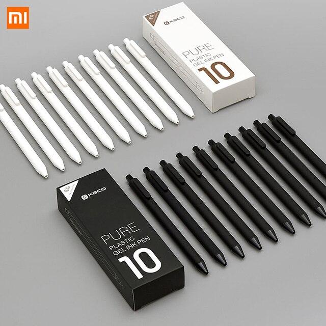10 unids/lote Xiaomi KACO 0,5mm Xiaomi mi firma pluma Gal escritura suave firma negro recarga no pluma estilográfica pluma de bola