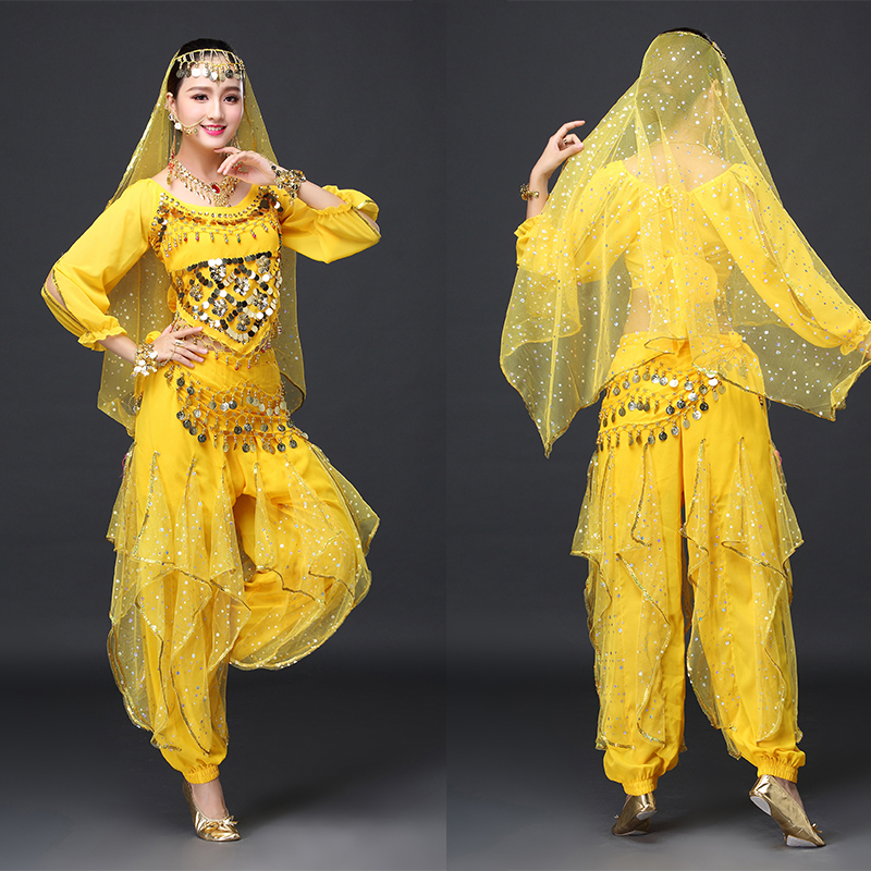 Sexy India Bollywood Dancing Costume for Women Professional Stage Training Practising Outfits Top+Pants free shipping