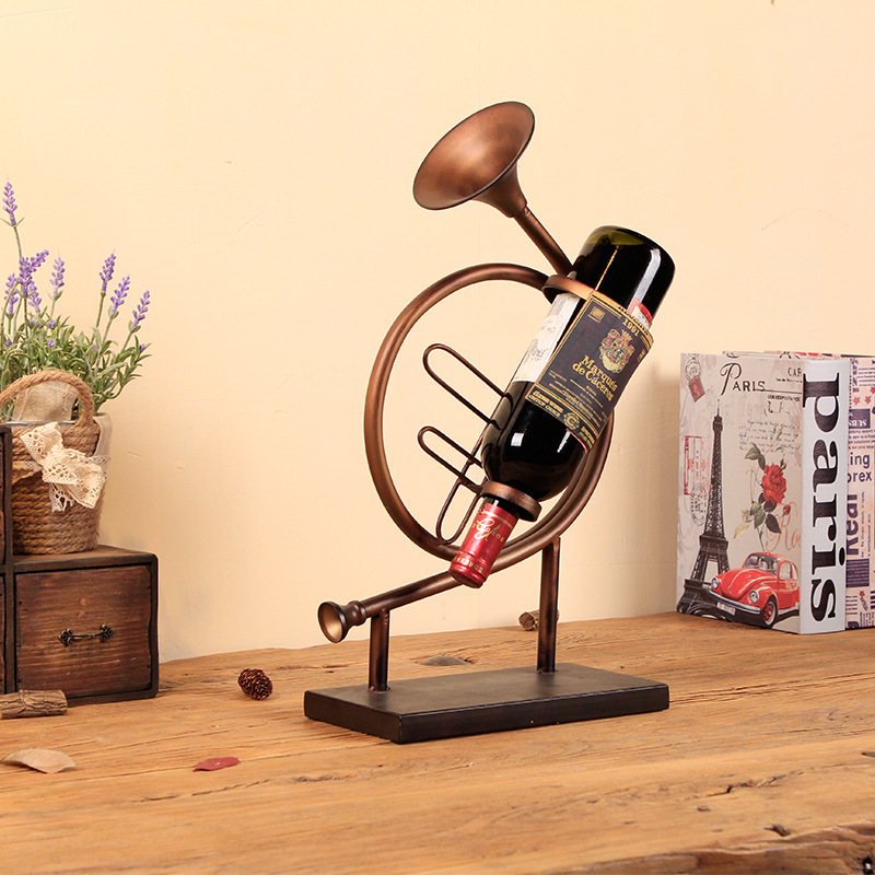 The New Instrument Wine Rack Creative Home Furnishing Craft Ornaments Metal Crafts Ornaments - 3