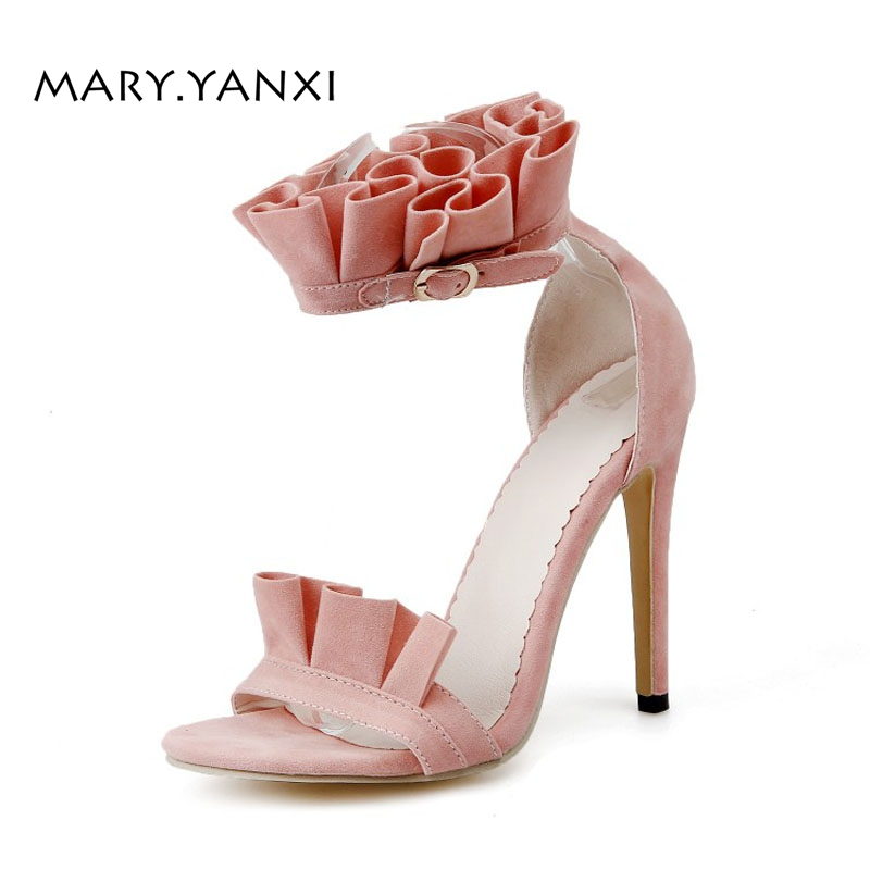 Summer Women Sandals Shoes Flock Nubuck Sweet Fashion Casual Buckle Strap Solid High Thin Heels Flock Pleated Ruffles Cover Heel xiaying smile summer new woman sandals platform women pumps buckle strap high square heel fashion casual flock lady women shoes page 9