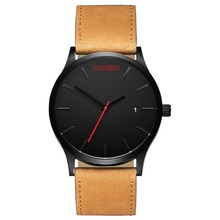 men's fashion leather watch date display business attire watches quartz Luxury Brands mens watches CAGARNY relogio masculino