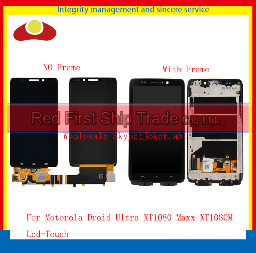 5.0 For Motorola Droid Ultra XT1080 Maxx XT1080M Full Lcd Display Touch Screen Digitizer Sensor Assembly Complete+Frame