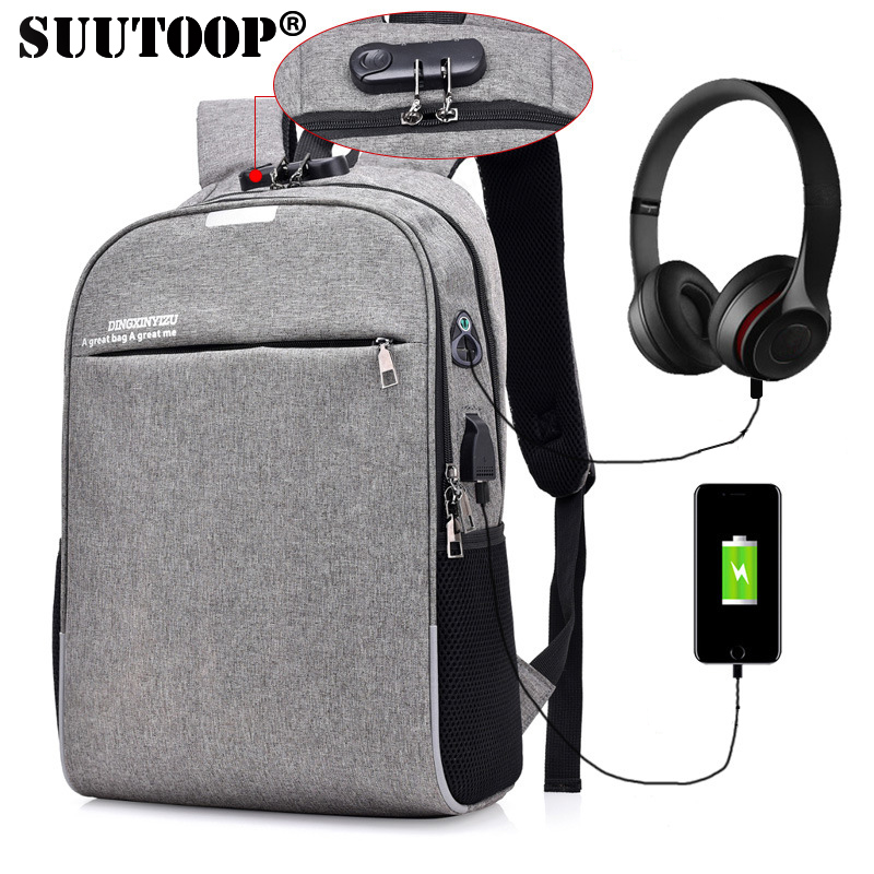 Suutoop Anti Theft Men Laptop Backpacks Waterproof Usb Charging Brand Design Backpack Male Business Travel Bag Leisure Mochila