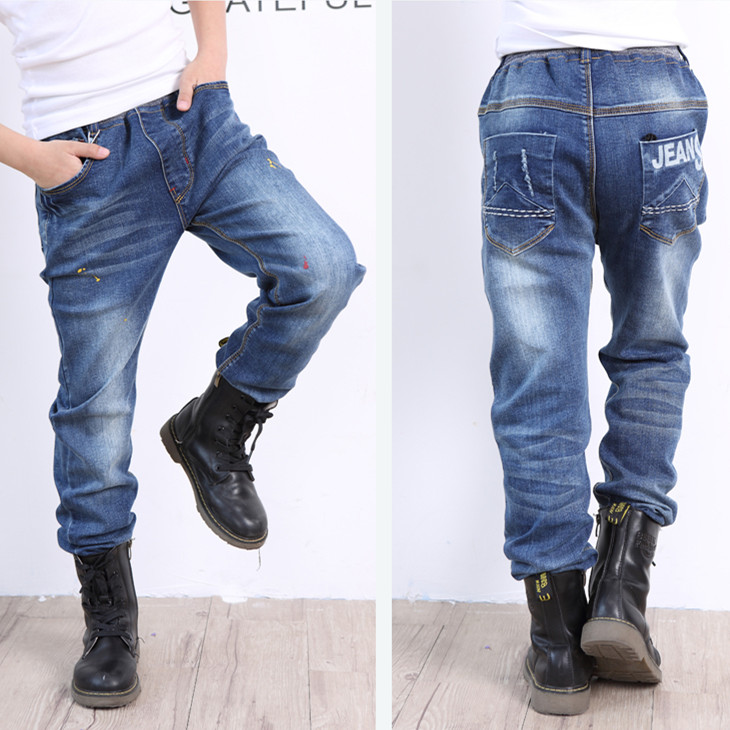 AZEL Fashion Jeans For Boys Elastic Waist Boy's Trousers 2017 New Casual Style 10 11 12 13 14 Year Old Children Denim Clothes