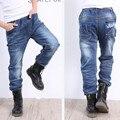 AZEL Jeans De Moda Para Niños del Muchacho de Los Pantalones de Cintura Elástica 2017 Nuevo Estilo ocasional 10 11 12 13 14 Años de Edad Los Niños Denim ropa
