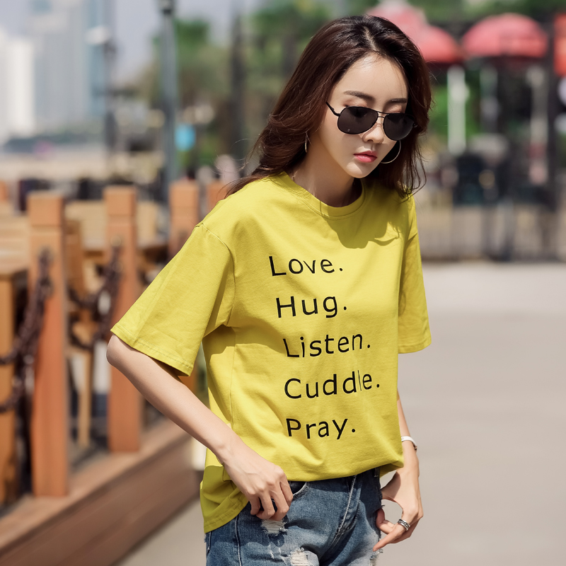 Summer New Charmed Alphabet Print Casual Women T Shirt Short sleeve Casual Round neck Cheap Clothes Top Mode Femme S 2XL GBQ in T Shirts from Women 39 s Clothing