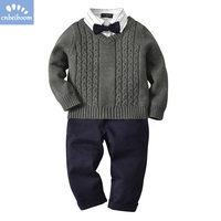 Children boys sweater clothing sets gentleman knitting winter long sleeve shirts + sweater + pants 3pcs clothes suits cardigan