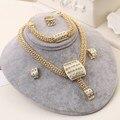 Zoshi mulheres banhado a ouro conjuntos de jóias de cristal austríaco cadeia nó colar de pingente brincos pulseira anel 4 pcs set