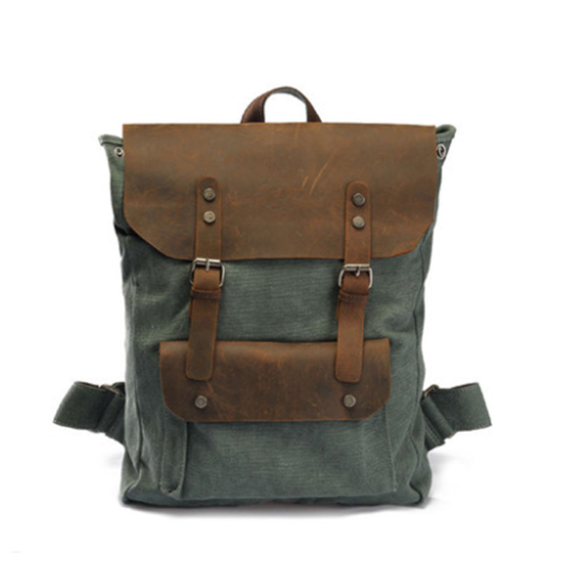 5 colors Vintage Canvas Backpack Crazy Horse Leather Man Travel Bags Retro School Bag Hasp Military Style Laptop knapsack retro style two front pockets laptop compartment vintage canvas solid color backpack