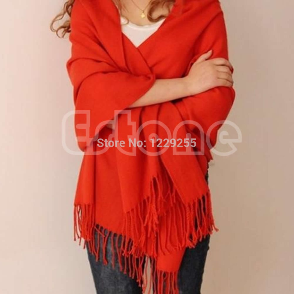 1pc Women Pure Imitation Cashmere   Scarf   Wool Blend Long   Scarf   Tassels Warm   Scarves   Winter Warm Soft   Wrap   Shawl New
