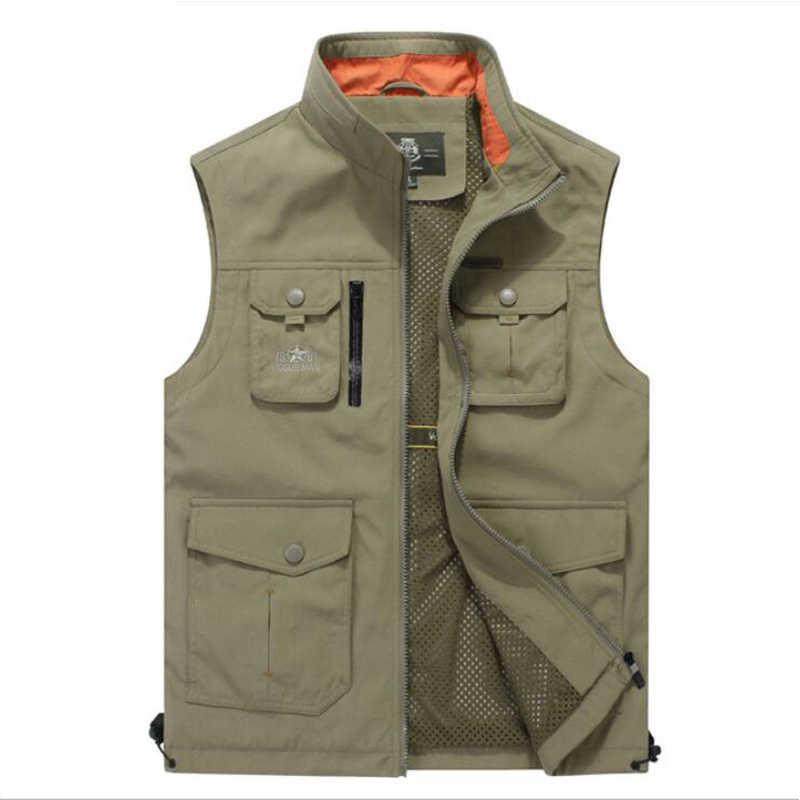 8a1b44254e1 2019 Vest Men Vest Coat Autumn Casual Men s Sleeveless Vest Breathable  Multi-pockets Quick Dry