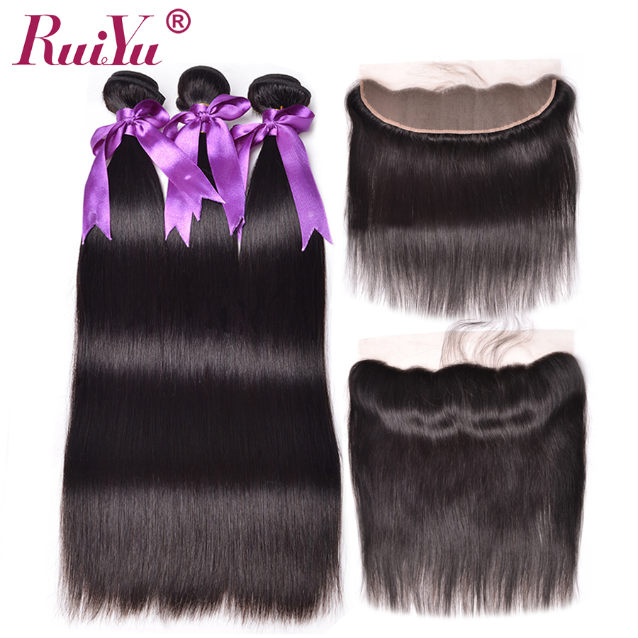 Brazilian Hair Weave Bundles With Frontal RUIYU Hair With Closure Straight Hair Bundles With Frontal 100