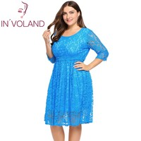 IN VOLAND Big Size Women Lace Dress Summer Autumn Hollow Out Belted Floral Party A Line