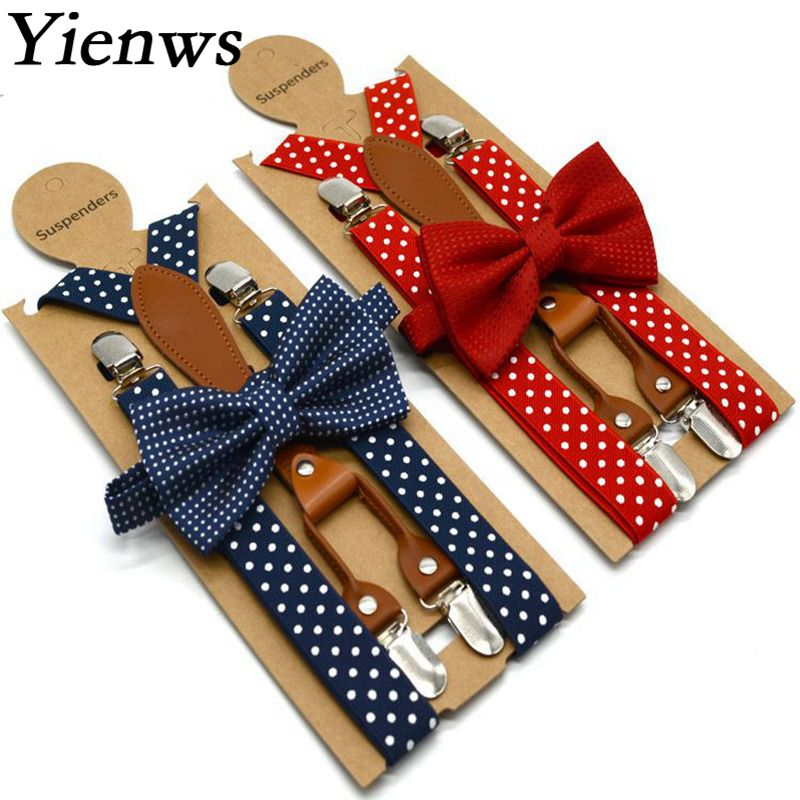 Yienws Polka Dot Bow Tie Suspenders for Men Women 4 Clip Leather Suspensorio Adult Bowtie Braces for Trousers Navy Red YiA119(China)