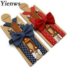 Yienws в горошек галстук-бабочка подтяжки для мужчин женщин 4 зажим кожаный подтяжки галстук-бабочка взрослый подтяжки для брюк темно-синий красный YiA119