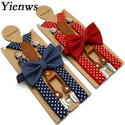 Yienws горошек галстук-бабочка в крапинку подтяжки для женщин для мужчин 4 клип кожа Suspensorio галстук-бабочка взрослый подтяжки мотобрюки темно