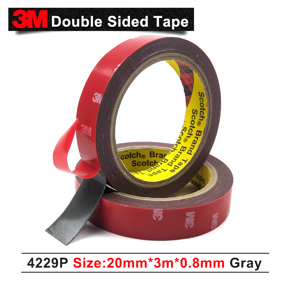 100% Original Gray Acrylic Foam Adhesive Auto Tape Double Sided 3M car Tape 4229P, 20MMx3M, 1pcs/lot