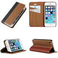 Fashion Wooden Flip Phone Case Shell For Apple iPhone 5 5s SE Natural Rosewood Wood + PU Leather + PC Edges Stand Cover