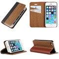 Moda de madeira flip phone case shell para apple iphone 5 5s SE Natural Rosewood Madeira + Couro PU + PC Bordas Stand cobrir