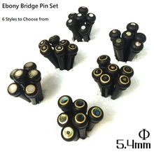 QiCai Ebony Wood Inlay Guitar Bridge Pins with White Pearl or Abalone Color, 6 Design Available, sell by 1 set of