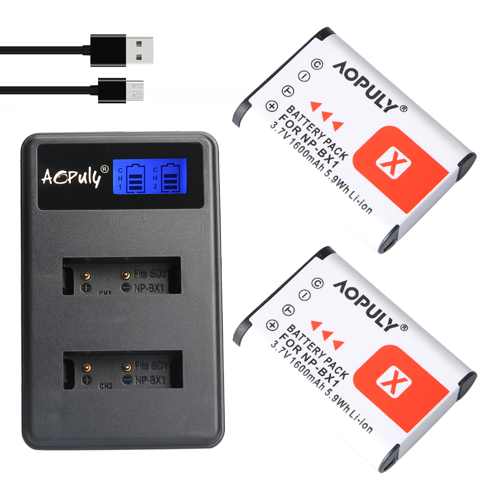 AOPULY 2pcs NP-BX1 np bx1 <font><b>Battery</b></font> + LCD Charger For <font><b>Sony</b></font> DSC-RX100 DSC-WX500 IV HX300 WX300 <font><b>HDR</b></font>-AS15 X3000R MV1 AS30V <font><b>HDR</b></font>-<font><b>AS300</b></font> image