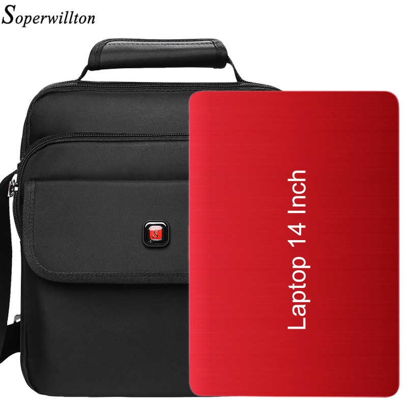 Soperwillton Men's Bag Laptop 14 inch Business Bag For Work Totes Handbag Office Bag Male Waterproof and Cotton Protective #10XX