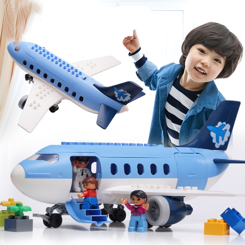 Air Passenger Plane Toy Large Particle Building Blocks Kids Toys For Children Bricks Compatible With Sermoido Duplo Boys