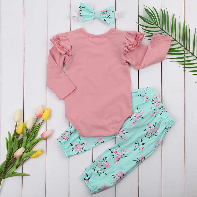 349fc5907294a Cute Newborn Infant Baby Girl Clothes Ruffles Long Sleeve Pink Romper  Tops+Floral Pant Bow Headband 3PCS Outfit Kid Clothing Set