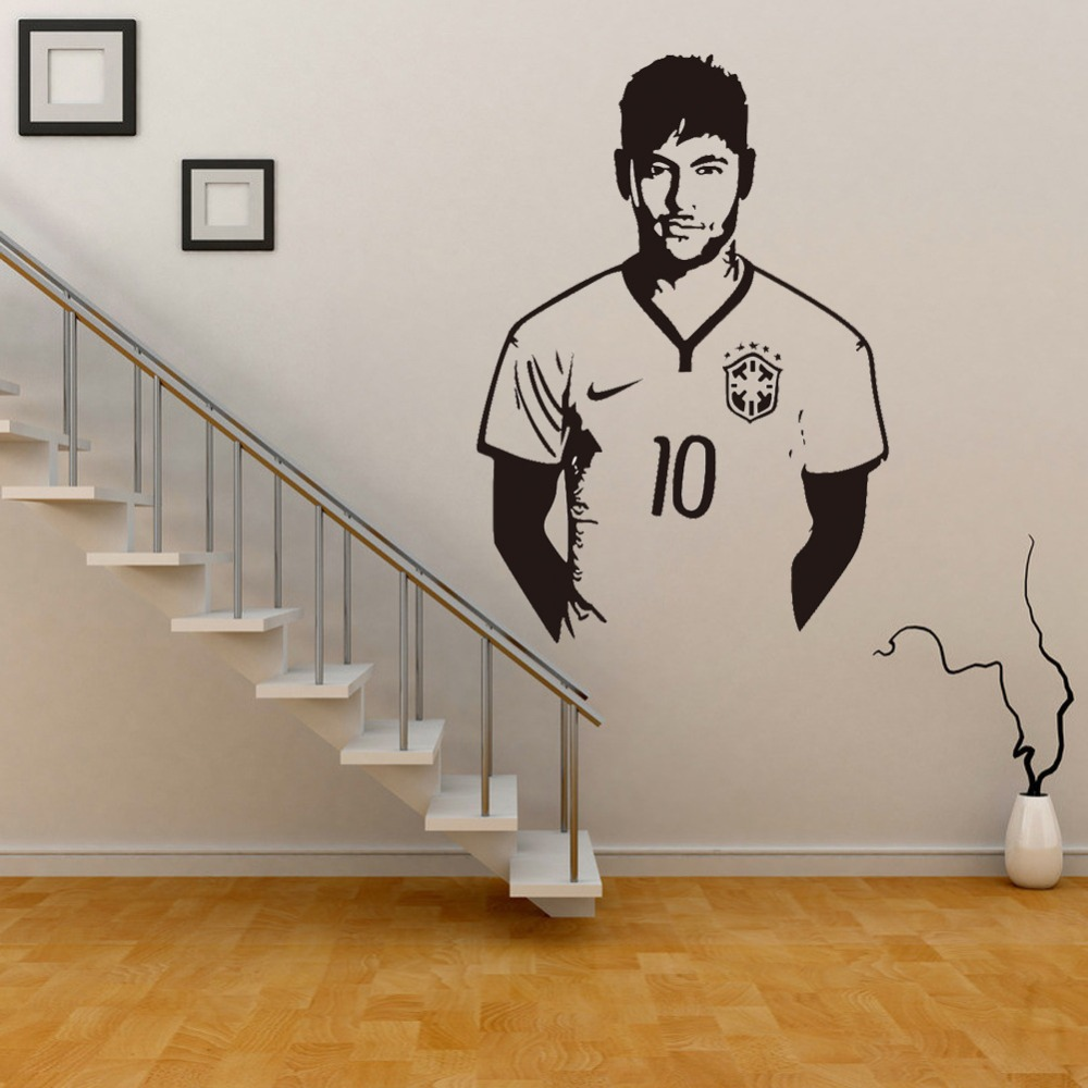 Celebrity wall stickers art wall sticker decal neymar football for celebrity wall stickers art wall sticker decal neymar football for boys kids room removable pvc decal home decoration diy in wall stickers from home amipublicfo Image collections