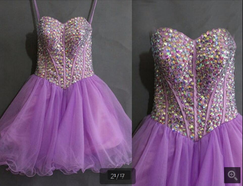 2016 short purple una línea de cristales rebordear vestido de cóctel ...