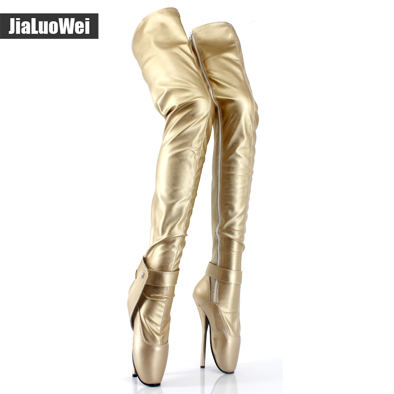 Women boots 18cm High Heel patent leather over the knee Ballet boots for women Fetish sexy Crotch long boots Pole dance boots jialuowei lace up buckles ballet boots 18cm 7 extreme high heel hoof fashion sexy fetish zip over knee thigh high long boots