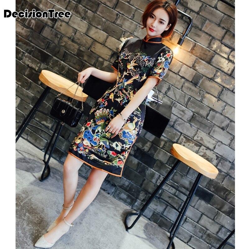 2019 new navy black satin qipao lady traditional chinese style Embroidery cheongsam dress women mandarin collar silm qipao dress