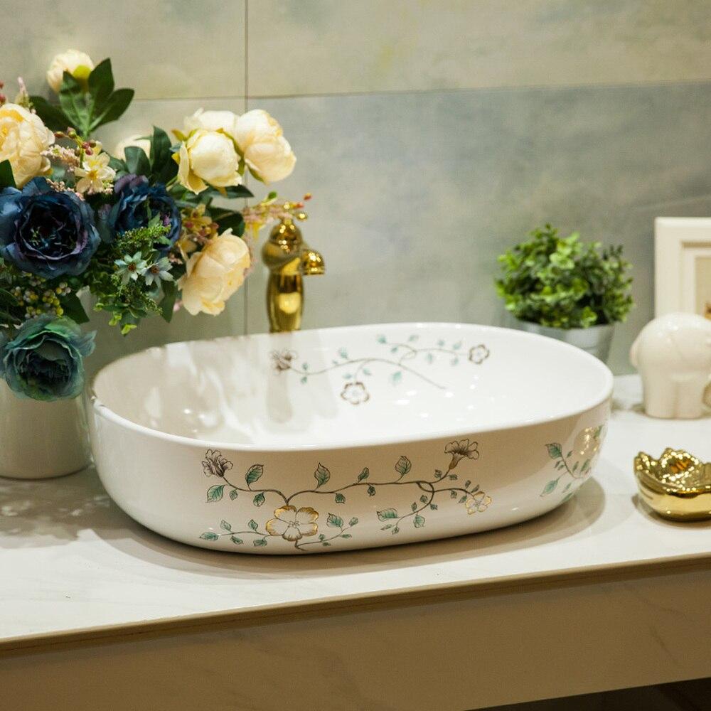 Salle de bain au-dessus du comptoir bassin en céramique salle de bain vanité salle de bain lavabo peint à la main or orchidée LO6181056