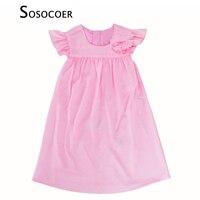 SOSOCOER Girl Dress Summer Fashion Kids Dresses High Quality Baby Girls Princess Dress Pink Rose Flower